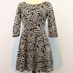 Taylor Black White Knit Fit Flare Skater Dress